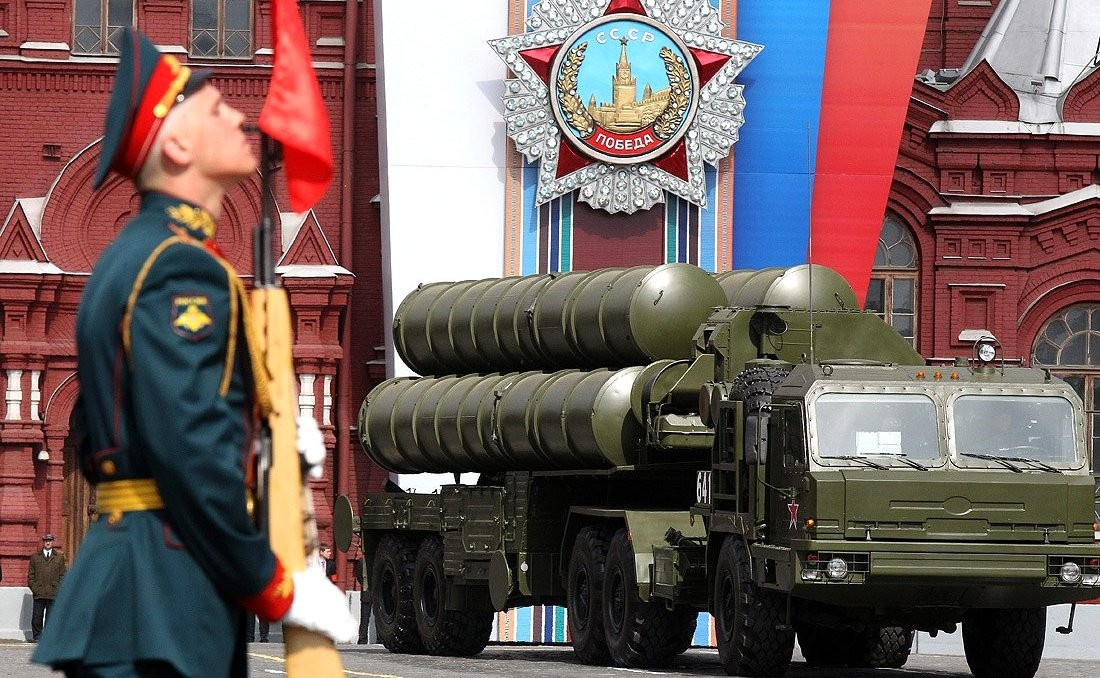 Military parade on Red Square on May 9, 2011. President of Russia