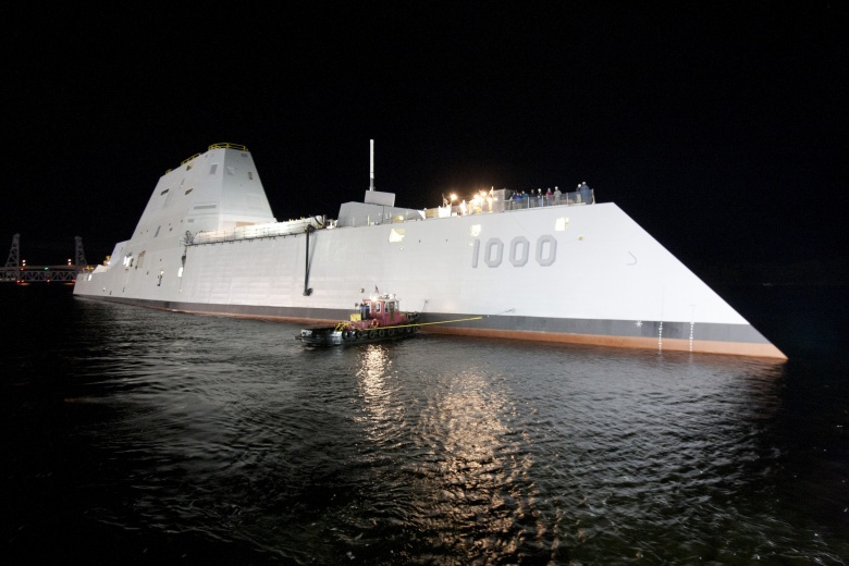 The Zumwalt-class guided-missile destroyer DDG 1000 is floated out of dry dock at the General Dynamics Bath Iron Works shipyard. Flickr/Naval Surface Warriors
