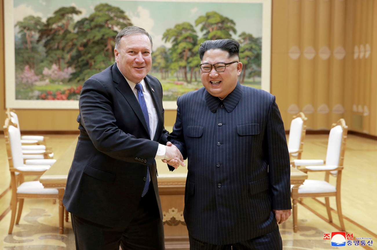 North Korean leader Kim Jong Un shakes hands with U.S. Secretary of State Mike Pompeo in this May 9, 2018 photo released on May 10, 2018 by North Korea's Korean Central News Agency (KCNA) in Pyongyang. KCNA/via REUTERS