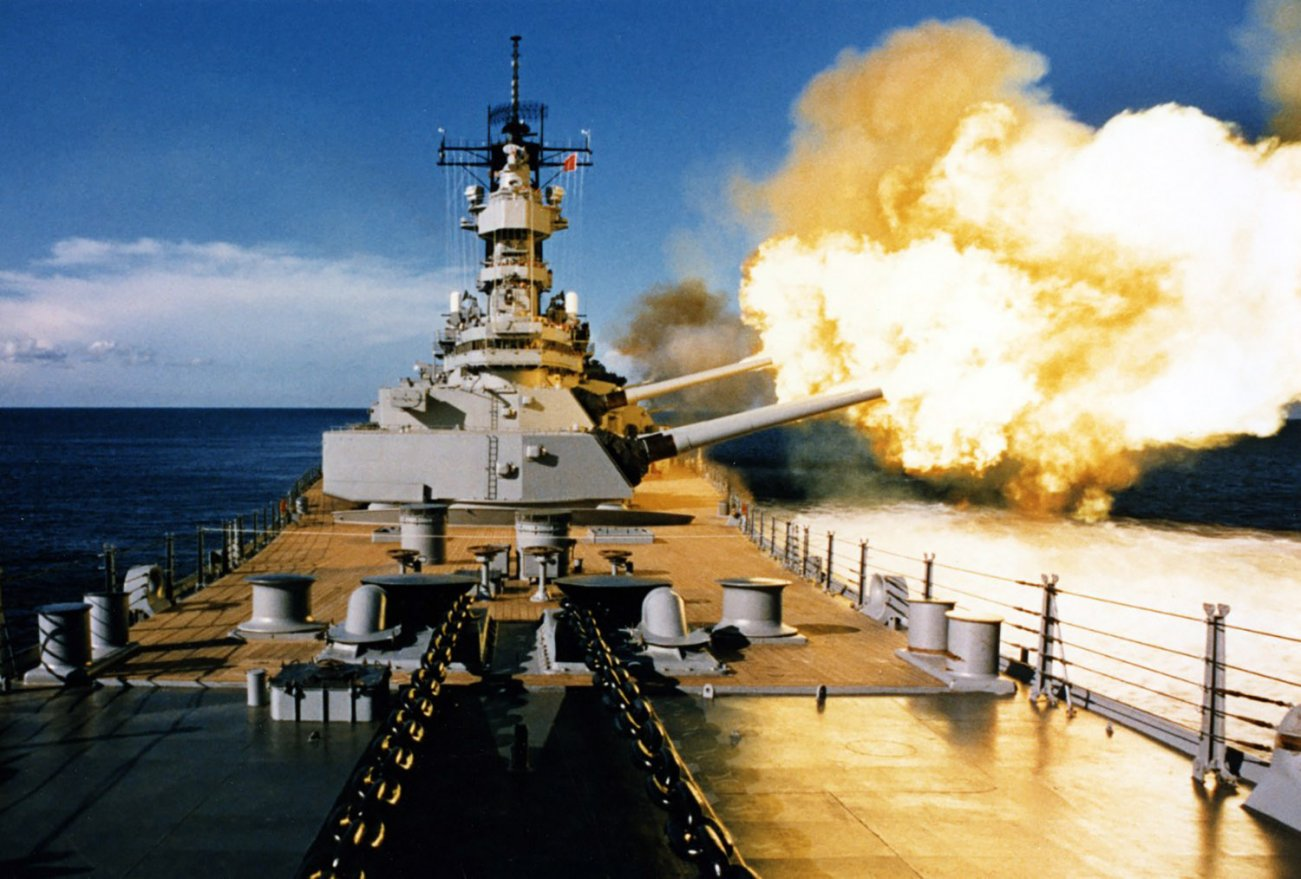 USS Wisconsin (BB-64) Firing a broadside to port with her 16/50 and 5/38 guns