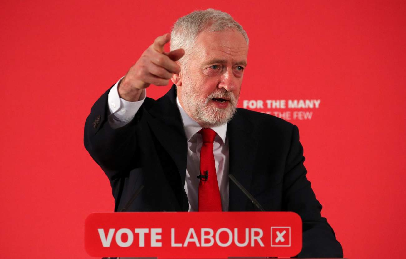 Jeremy Corbyn, the leader of Britain's Labour Party, speaks at the launch of their local election campaign, in London, April 9, 2018. REUTERS/Hannah McKay