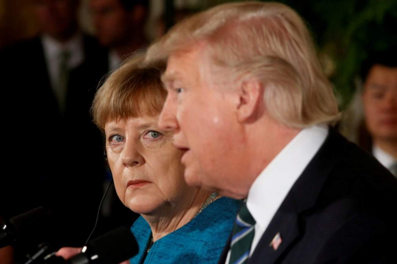 Germany's Chancellor Angela Merkel and U.S. President Donald Trump hold a joint news conference in the East Room of the White House in Washington, U.S., March 17, 2017. Jonathan Ernst: