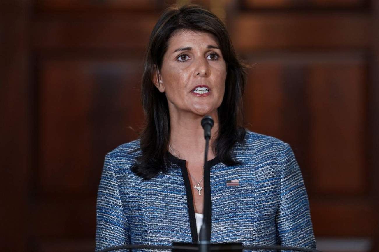 U.S. Ambassador to the United Nations Nikki Haley delivers remarks to the press together with U.S. Secretary of State Mike Pompeo (not pictured), announcing the U.S.'s withdrawal from the U.N's Human Rights Council at the Department of State in Washington, U.S., June 19, 2018. REUTERS/Toya Sarno Jordan