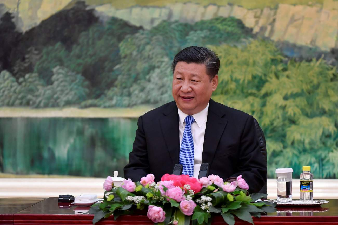 Chinese President Xi Jinping speaks with Russian Foreign Minister Sergei Lavrov (not pictured) during a meeting at the Great Hall of the People in Beijing, China April 23, 2018. Naohiko Hatta/Pool via REUTERS