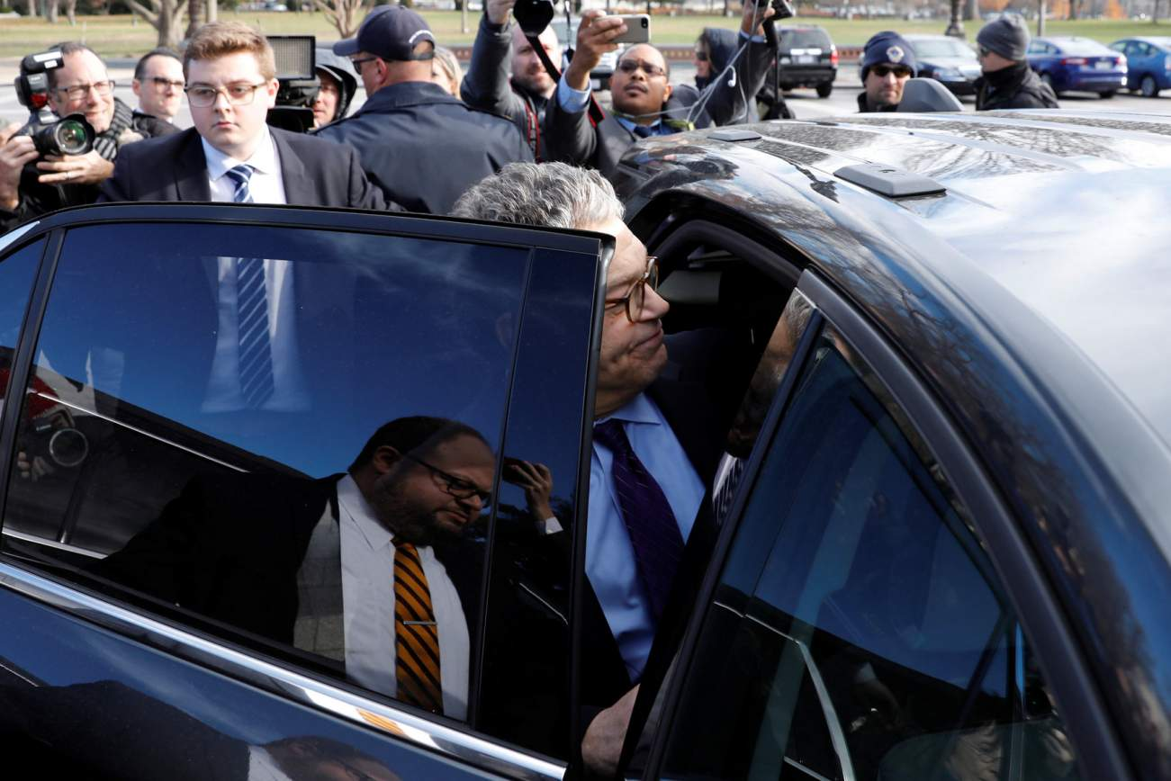 U.S. Senator Al Franken (D-MN) leaves after announcing his resignation over allegations of sexual misconduct on Capitol Hill in Washington, U.S. December 7, 2017. REUTERS/Yuri Gripas