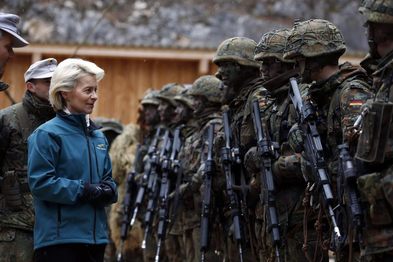 German Defence Minister Ursula von der Leyen meets soldiers during a visit to Kaserne Hochstaufen (mountain infantry military barracks) in Bad Reichenhall, southern German