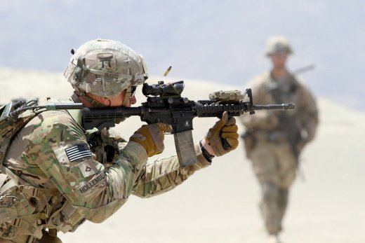 A U.S. Army soldier during partnered live fire range training at Tactical Base Gamberi, Afghanistan. Flickr/U.S. Army