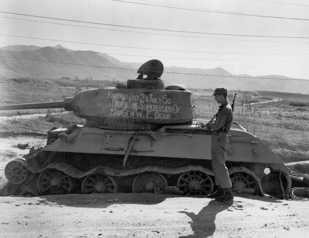 O tanque T-34 destruído pessoalmente pelo General Dean em 20 de julho