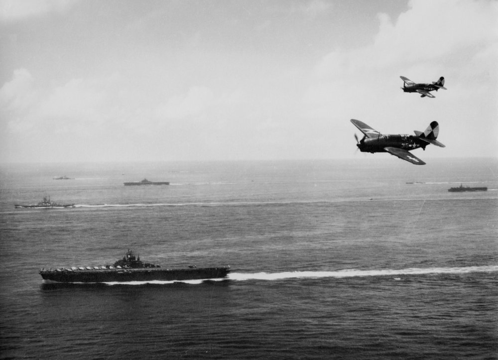 WWII Newsreel : U.S. Navy Carrier Planes Sweep China Sea 1945