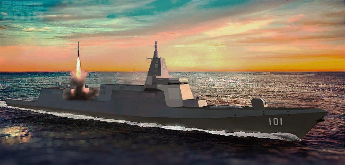 هل تستطيع المدمره الصينيه Type 055 الجديده ان تغرق سفن البحريه الامريكيه ؟!! Type_055_destroyer_0