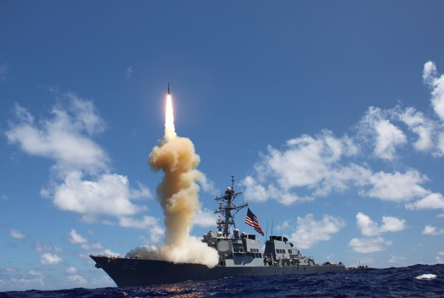 The guided-missile destroyer USS Fitzgerald (DDG 62) launches a Standard Missile-3 (SM-3) as apart of a joint ballistic missile defense exercise. America's Sailors are Warfighters, a fast and flexible force deployed worldwide