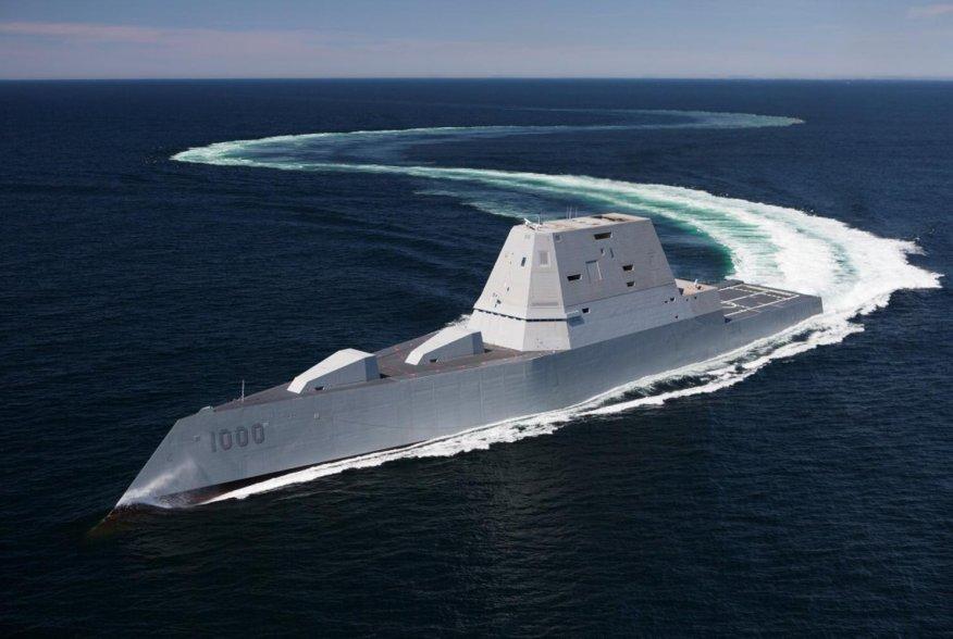 U.S.S. Zumwalt. May 20, 2016. U.S. Navy/Dennis Griggs.