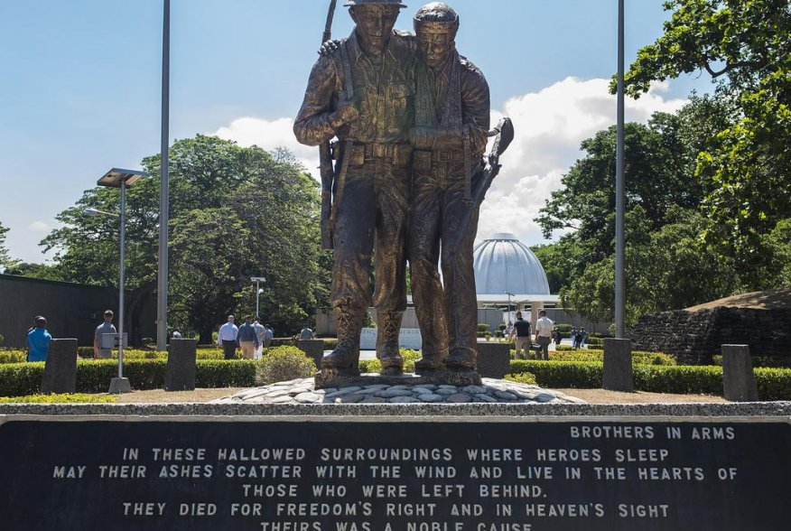 .S. military and Philippine government officials attend a ceremony to mark the 75th anniversary of the fall of Corregidor to the Japanese during World War II on Corregidor, Cavite, May 6, 2017. U.S. Air Force Senior Airman Corey Pettis.