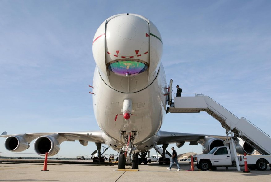 The U.S.A.F. Airborne Laser aircraft sits on the tarmac at Andrews Air Force Base outside Washington, June 21, 2007. The modified 747 aircraft uses a high-energy Chemical Oxygen Iodine Laser to generate an energy beam from the aircraft's nose to intercept
