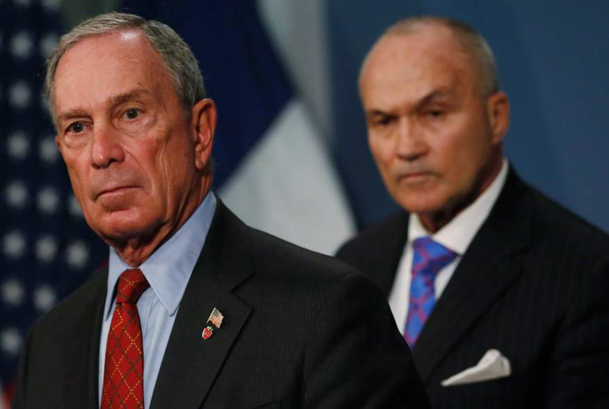"""New York City Mayor Michael Bloomberg and New York Police Department (NYPD) Commissioner Ray Kelly (R) attend a news conference about a judge's ruling on """"stop and frisk"""" at City Hall in New York August 12, 2013. REUTERS/Brendan McDermid"""