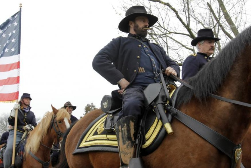 An actor portraying Ulysses S. Grant arrives at Appomattox during the 150th anniversary re-enactment of the surrender of General Robert E. Lee to General Ulysses S. Grant at the Court House National Historic Park in Appomattox, Virginia, April 9, 2015. RE