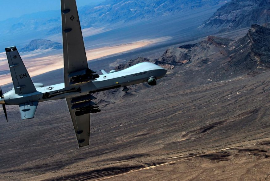 An MQ-9 Reaper remotely piloted drone aircraft performs aerial maneuvers over Creech Air Force Base, Nevada, U.S., June 25, 2015. Picture taken June 25, 2015. U.S. Air Force/Senior Airman Cory D. Payne/Handout