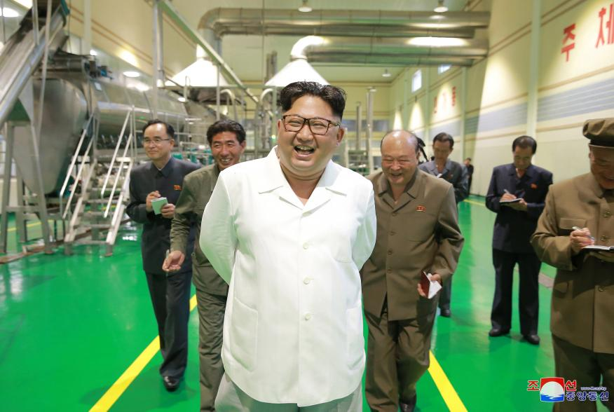 North Korea leader Kim Jong Un inspects a factory producing potato powders in Samjiyon County in this undated photo released by North Korea's Korean Central News Agency (KCNA) on July 10, 2018. KCNA/via REUTERS