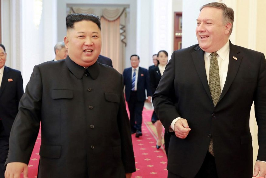 North Korean leader Kim Jong Un meets with U.S. Secretary of State Mike Pompeo in Pyongyang in this photo released by North Korea's Korean Central News Agency (KCNA) on October 7, 2018. KCNA via REUTERS