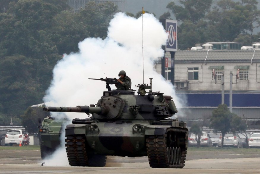 A 584th armored brigade's CM-11 Brave Tiger tank takes part in anti-invasion drill, simulating the China's People's Liberation Army (PLA) invading the island, in Taoyuan, Taiwan October 9, 2018. REUTERS/Tyrone Siu