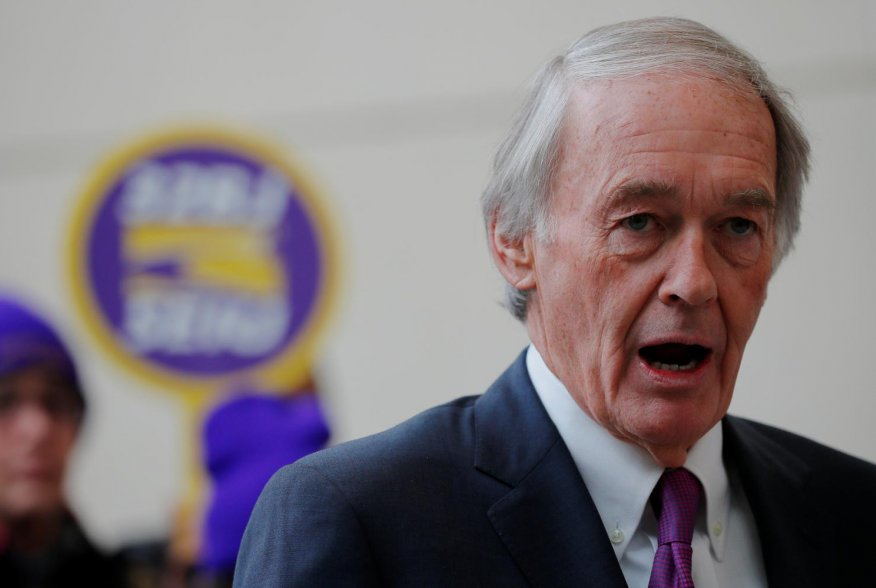 U.S. Senator Ed Markey (D-MA) speaks about federal government employees working without pay and workers trying to unionize at Logan Airport in Boston, Massachusetts, U.S., January 21, 2019. REUTERS/Brian Snyder