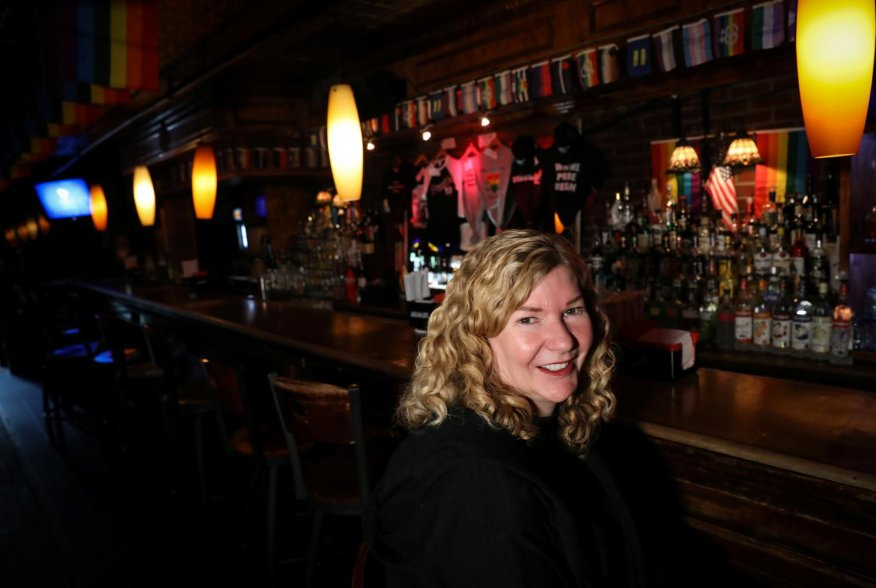 Stacy Lentz, co-owner of the Stonewall Inn and CEO of the Stonewall Gives back, speaks during an interview behind the bar at the Stonewall Inn in New York, U.S., May 30, 2019. Picture taken May 30, 2019. REUTERS/Brendan McDermid
