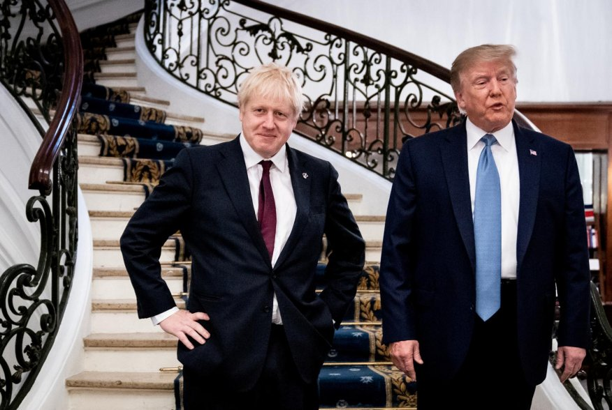 U.S. President Donald Trump and Britain's Prime Minister Boris Johnson arrive for a bilateral meeting during the G7 summit in Biarritz, France, August 25, 2019. Erin Schaff/Pool via REUTERS