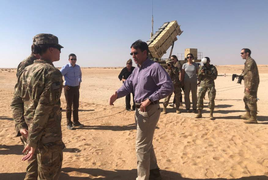 U.S. Defense Secretary Mark Esper speaks with U.S. troops in front of a Patriot missile battery at Prince Sultan Air Base in Saudi Arabia October 22, 2019. REUTERS/Idrees Ali