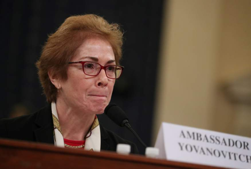 Marie Yovanovitch, former U.S. ambassador to Ukraine, testifies before a House Intelligence Committee hearing as part of the impeachment inquiry into U.S. President Donald Trump on Capitol Hill in Washington, U.S.,