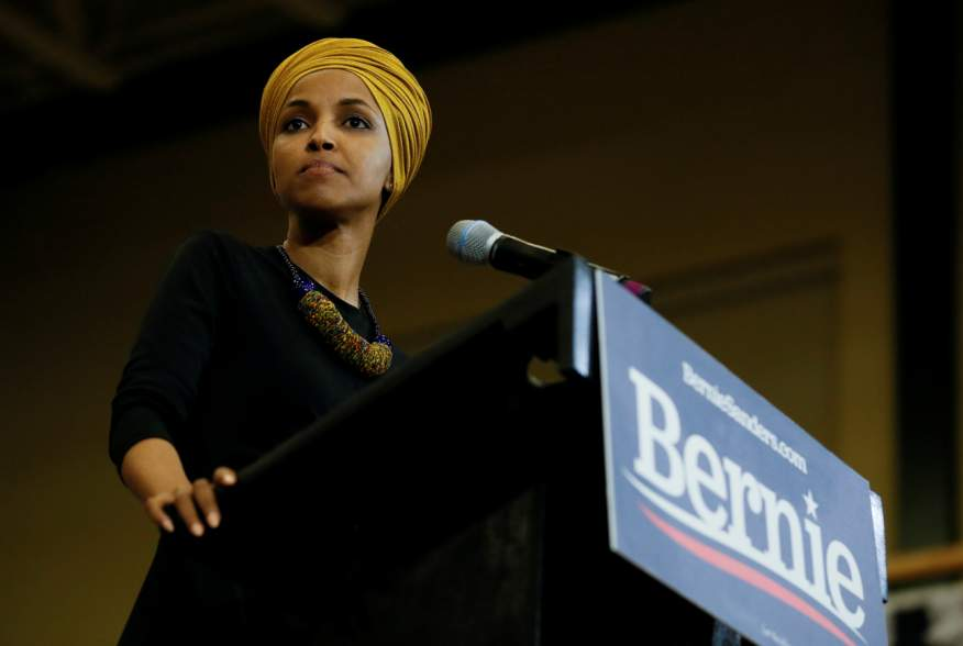 U.S. Representative Ilhan Omar (D-MN) introduces Democratic 2020 U.S. presidential candidate and U.S. Senator Bernie Sanders (I-VT) at a campaign event in Nashua, New Hampshire, U.S., December 13, 2019. REUTERS/Elizabeth Frantz