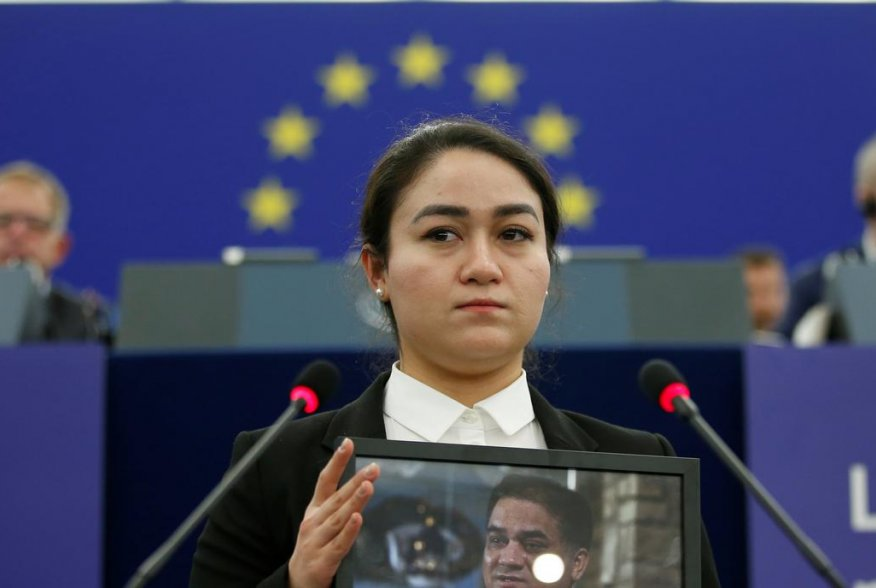 Jewher Ilham, daughter of Ilham Tohti, Uyghur economist and human rights activist, attends the award ceremony for his 2019 EU Sakharov Prize at the European Parliament in Strasbourg, France, December 18, 2019. REUTERS/Vincent Kessler