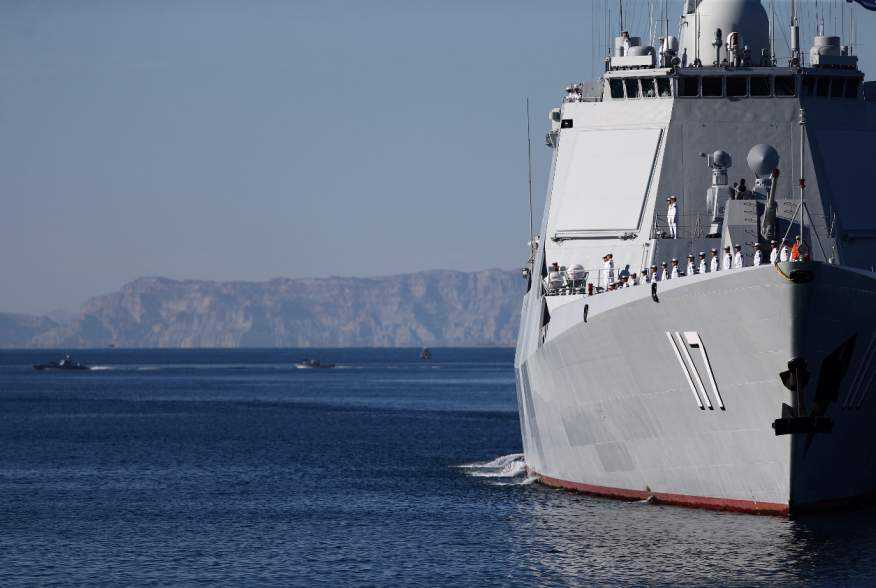 Warships sail in the Sea of Oman during the first day of joint Iran, Russia and China naval war games in Chabahar port, at the Sea of Oman, Iran, December 27, 2019. Picture taken December 27, 2019. Mohsen Ataei/Fars news agency/WANA (West Asia News Agency
