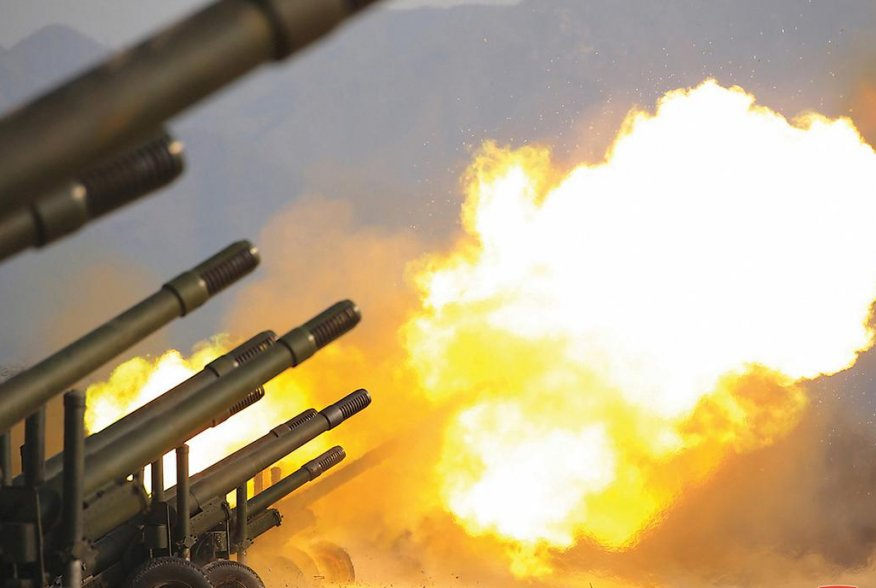 An artillery fire competition between the artillery units under the Korean People's Army Corps 7 and Corps 9 takes place at a training ground in North Korea, March 12, 2020 in this picture supplied by North Korea's Korean Central News Agency (KCNA)