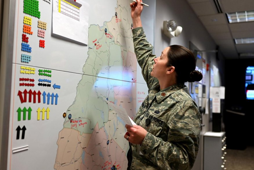 New Hampshire National Guard chief of operations Major Moira Cuthbert tracks coronavirus disease (COVID-19) missions at the Joint Operations Center in Concord, New Hampshire, U.S. April 2, 2020. Picture taken April 2, 2020. U.S. Air National Guard/Staff S