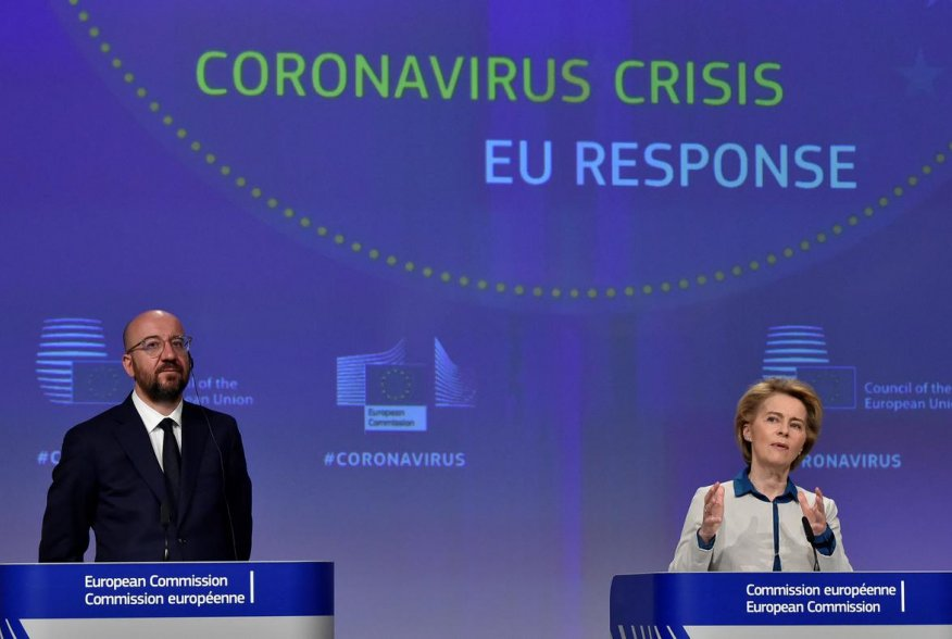 The President of European Commission Ursula von der Leyen and the President of the European Council Charles Michel hold a news conference on the European Union response to the coronavirus disease (COVID-19) crisis at the EU headquarters in Brussels, April
