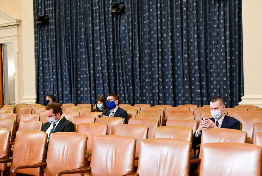 Audience members practice social distancing as the House Rules Committee meets to consider a resolution authorizing remote voting by proxy in the House of Representatives during a public health emergency due to the coronavirus disease (COVID-19) outbreak,