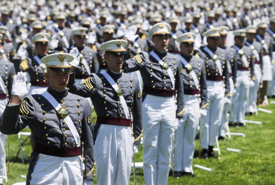 West Point graduating cadets take their oath as U.S. Army officers as they stand spaced apart for social distancing because of the coronavirus disease (COVID-19) pandemic during their 2020 United States Military Academy graduation ceremony attended by U.S