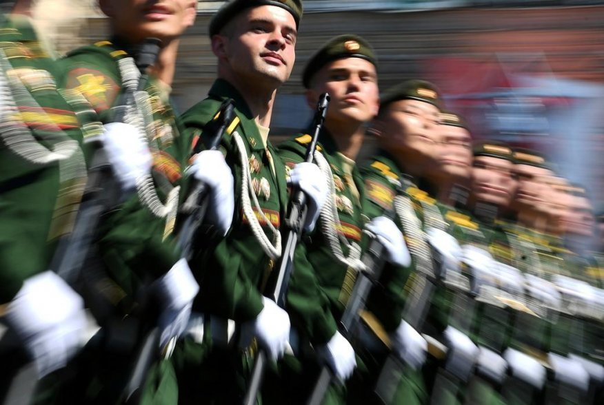 Russian servicemen march during the Victory Day Parade in Red Square in Moscow, Russia, June 24, 2020. The military parade, marking the 75th anniversary of the victory over Nazi Germany in World War Two, was scheduled for May 9 but postponed due to the ou