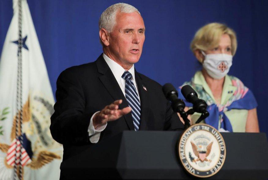 U.S. Vice President Mike Pence leads a White House coronavirus disease (COVID-19) task force briefing with Dr. Deborah Birx, the White House coronavirus response coordinator, at the U.S. Education Department in Washington, U.S., July 8, 2020. REUTERS/Carl