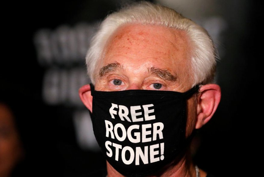 Roger Stone, a longtime friend and adviser of U.S. President Donald Trump, is seen after Trump commuted his federal prison sentence outside his home in Fort Lauderdale, Florida, U.S. July 10, 2020. REUTERS/Joe Skipper
