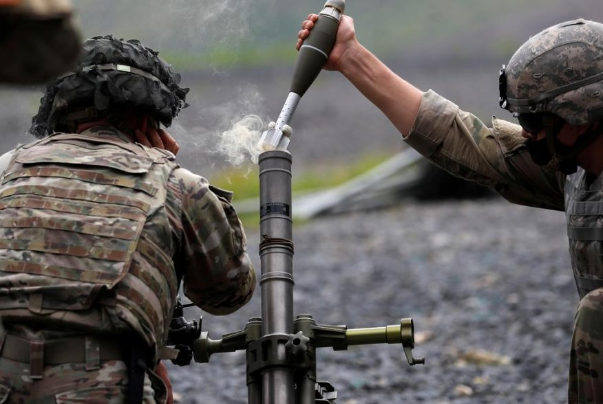 U.S. Military Academy (USMA) cadets wear protective face masks as they fire live mortar shells from an artillery weapon during tactical and physical training activities as part of Cadet Summer Training at West Point, New York, U.S., August 7, 2020. REUTER