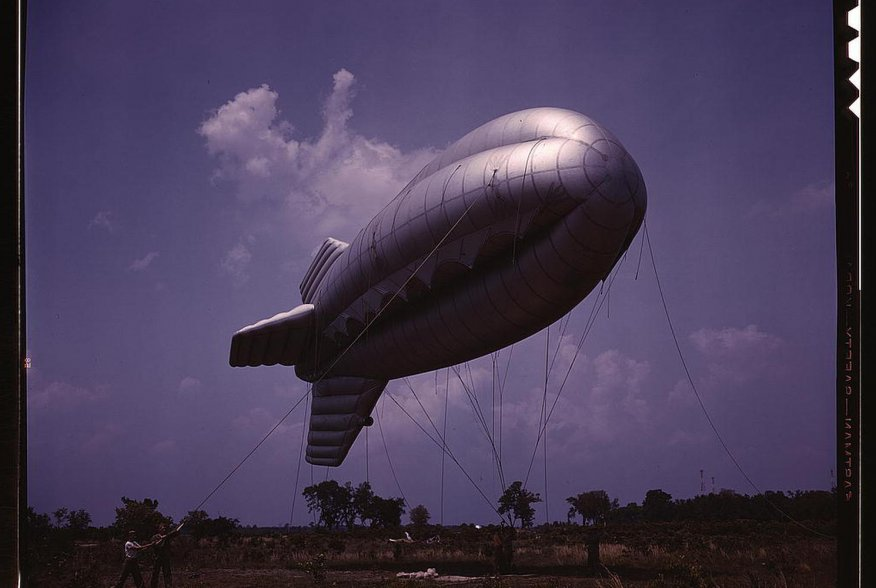 Barrage balloon, Parris Island, South Carolina. May 1942. U.S. Office of War Information/Alfred T. Palmer via Library of Congress.