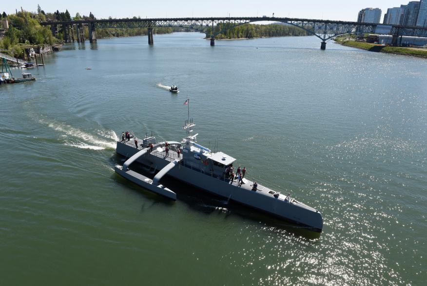 PORTLAND, Ore. (Apr. 7, 2016) Sea Hunter, an entirely new class of unmanned ocean-going vessel gets underway on the Williammette River following a christening ceremony in Portland, Ore.