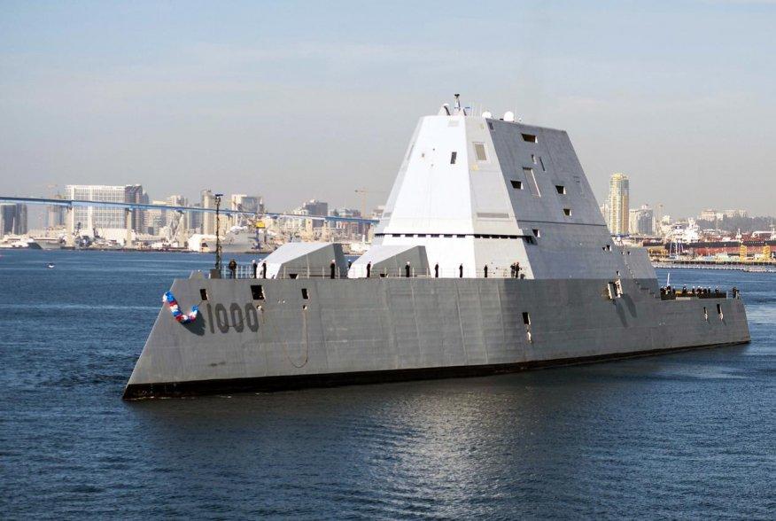 USS Zumwalt (DDG 1000) arrives at its new homeport in San Diego.