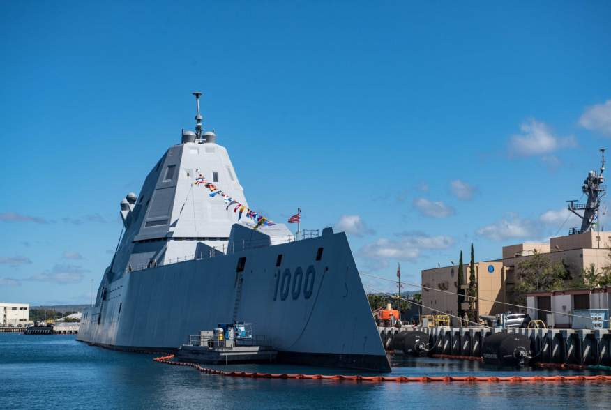 PEARL HARBOR, Hawaii (Apr. 4, 2019) Guided-missile destroyer USS Zumwalt (DDG 1000) is pierside in Pearl Harbor during a port visit. Zumwalt is conducting the port visit as part of its routine operations in the eastern Pacific.
