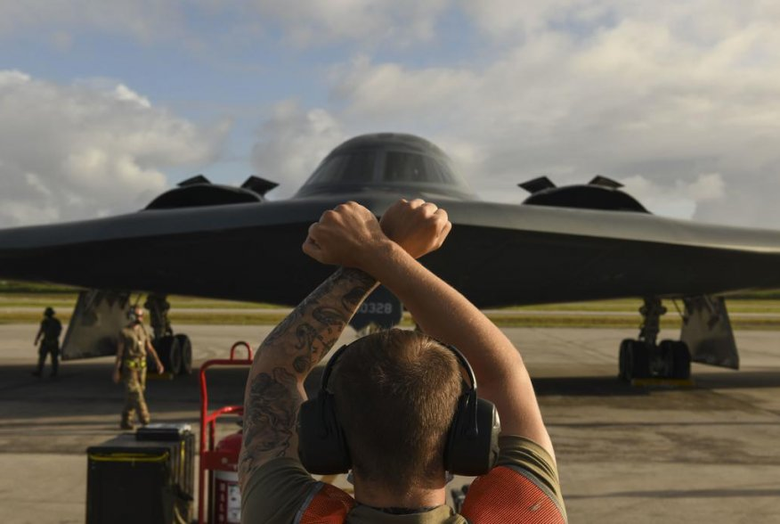 U.S. Air Force maintainers assigned to the 393rd Expeditionary Bomb Squadron, deployed from Whiteman Air Force Base, Missouri, secure a B-2 Spirit Stealth Bomber after a flight at Naval Support Facility Diego Garcia, to support a Bomber Task Force mission