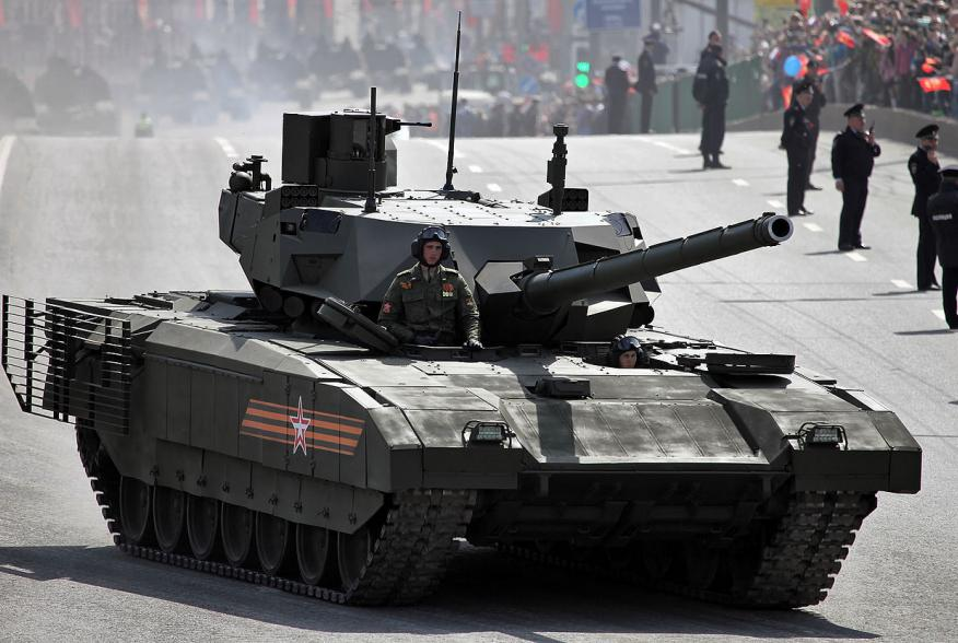 Main battle tank T-14 object 148 Armata (in the streets of Moscow on the way to or from the Red Square)