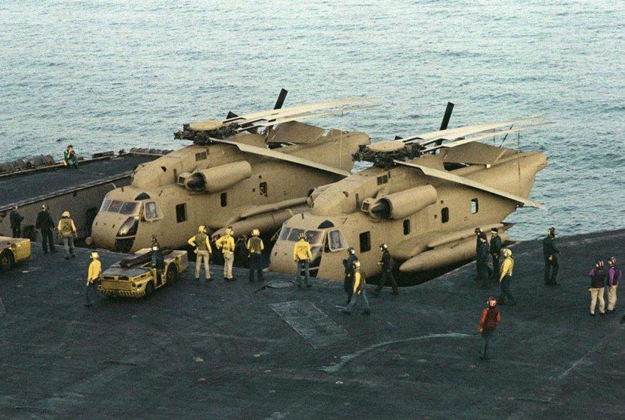 https://en.wikipedia.org/wiki/Operation_Eagle_Claw#/media/File:RH-53Ds_on_elevator_of_USS_Nimitz_(CVN-68)_off_Iran_1980.JPEG