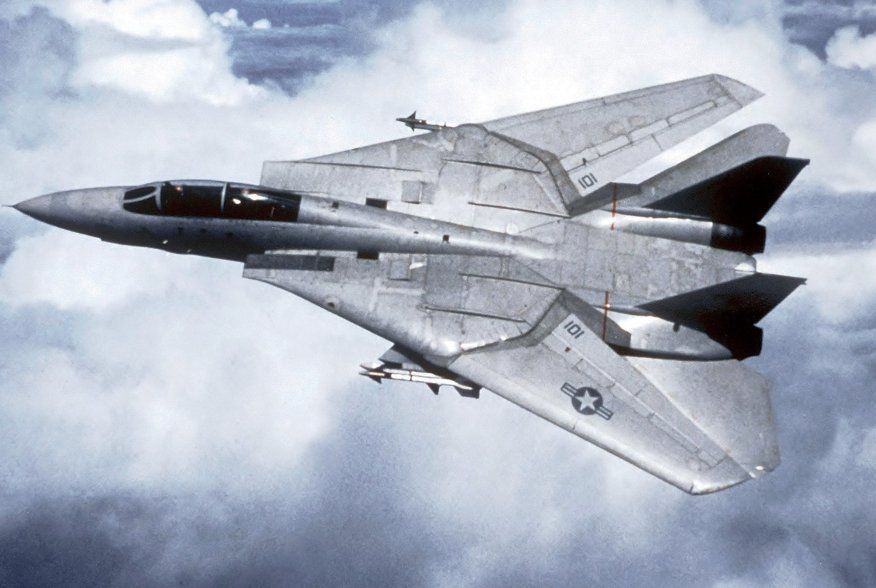 An air-to-air overhead view of a Fighter Squadron 1 (VF-1) F-14A Tomcat aircraft.Wikimedia Commons