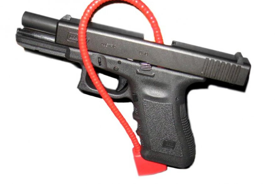Glock 17 with trigger lock.